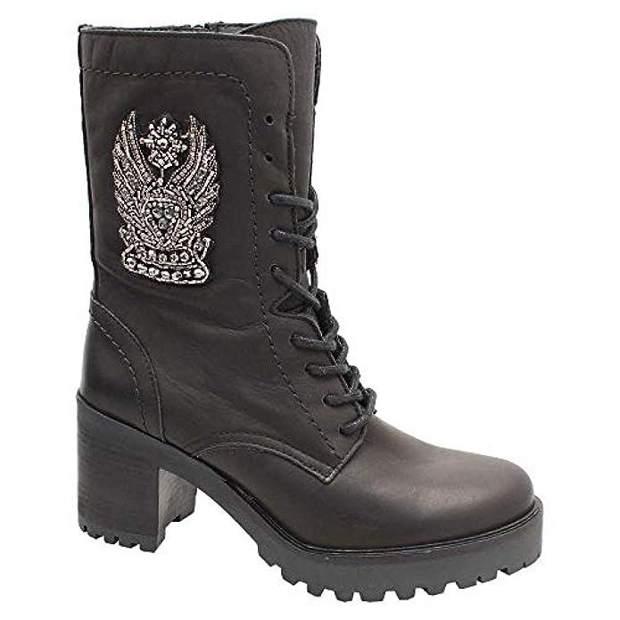 Alpe Chunky Block Heel Black Leather 3 4 Boot