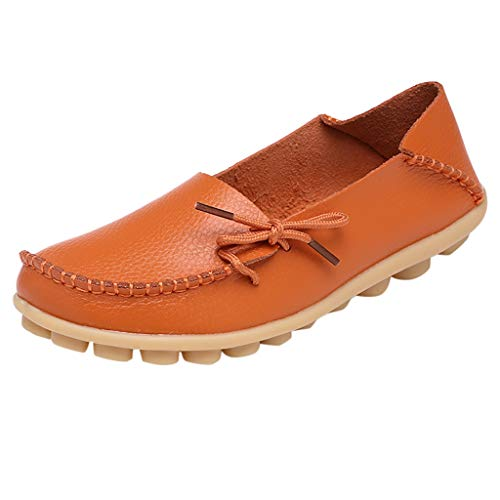 Flat Loafer for Women,SMALLE◕‿◕ Women's Leather Loafers Flats Casual Round Toe Summer Moccasins Wild Driving Shoes Orange