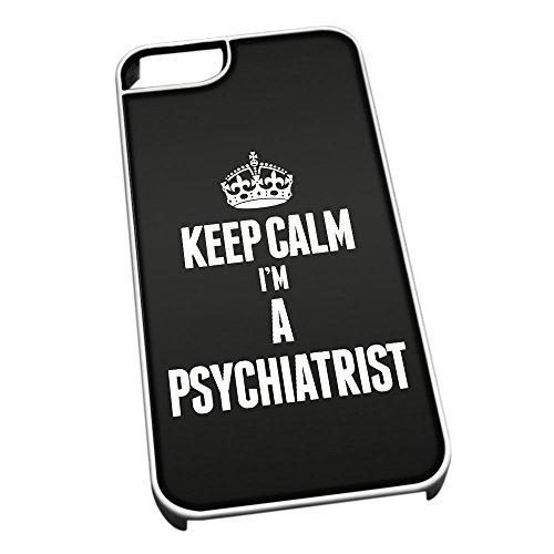 Bianco cover per iPhone 5/5S 2659nero Keep Calm I m A Psychiatrist