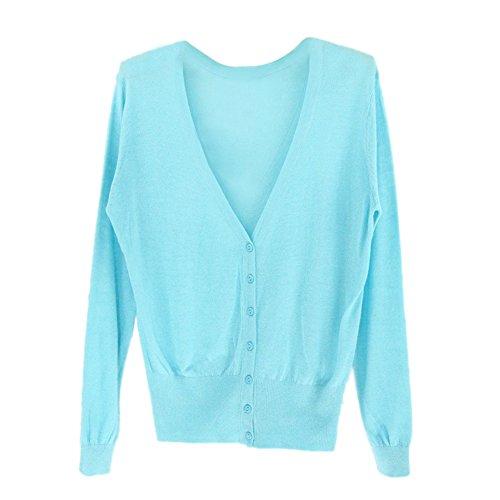 SODIAL 女性のカジュアルな薄いセーター ファッション的なVネックのフル袖 女性のニットカーディガン コート ライトブルー