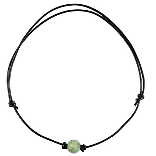 Barch One Antique Turquoise Choker Necklace with Black Leather Cord (Round Adjustable Antique - Sport Pendant Turquoise