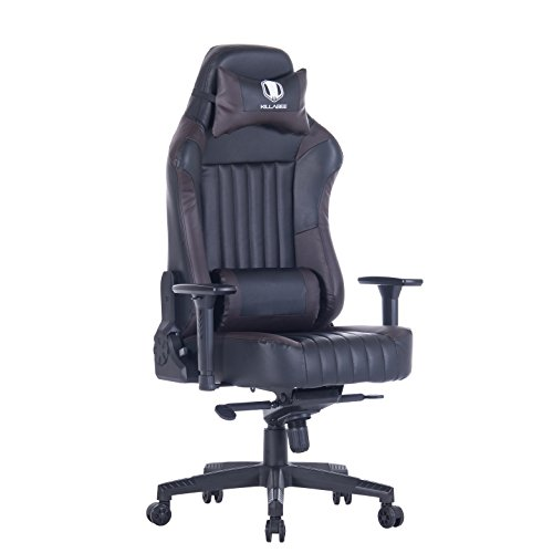 KILLABEE Big and Tall 440lb Gaming Chair – Adjustable Tilt, Back Angle and 3D Arms Ergonomic High-Back Racing Leather Executive Computer Desk Office Chair Detachable Headrest and Lumbar Support, Black