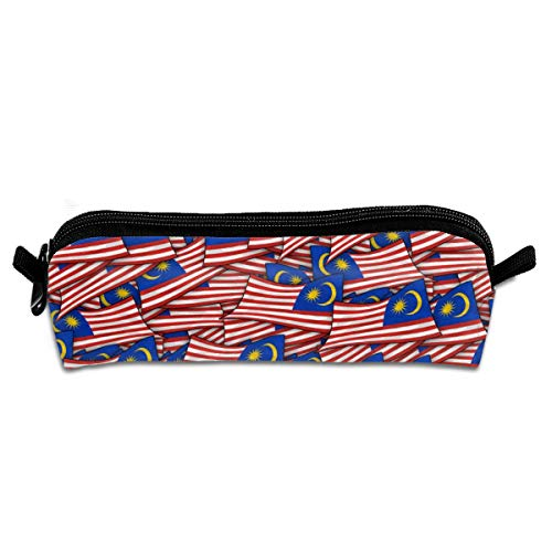 AZOULA Malaysia Flag Wave Collage Pencil Case Portable Durable Compact Pencil Bag with Zipper for School & Office Supplies