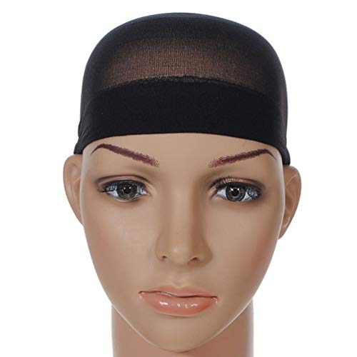 Unisex Stocking Wig Cap Snood Mesh Natural Black Wig Caps (2pcs)]()
