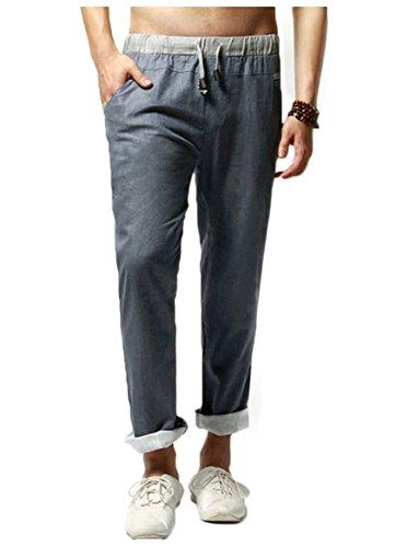 Homme Loisir Confortable Elastique Wslcn Respirant Cordon Pantalon En De Serrage Lin Foncé Taille Bleu dSnAWtqwA