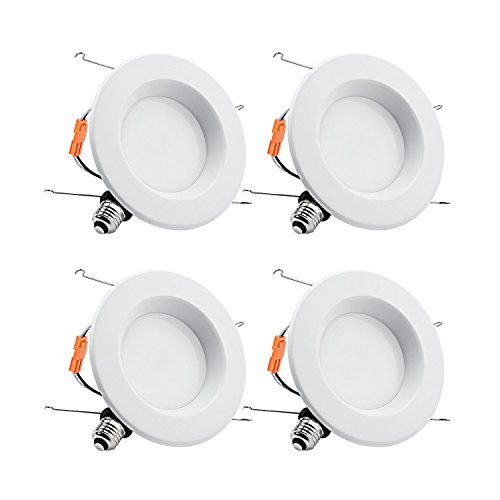 TORCHSTAR 15W 6inch Wet Location CRI90+ Dimmable 90W Equivalent Retrofit LED Recessed Lighting Fixture, Energy Star & ETL Classified Ceiling Light, 5000K Daylight 1250lm Remodel Downlight, 4-PACK (Lighting Ballast Recessed Housing)