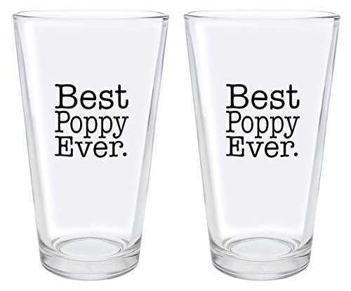 Christmas Gifts for Poppy Best Poppy Ever Fathers Day Gifts for Poppy Gift Pint Glasses 2-Pack Pint Glass Set Clear