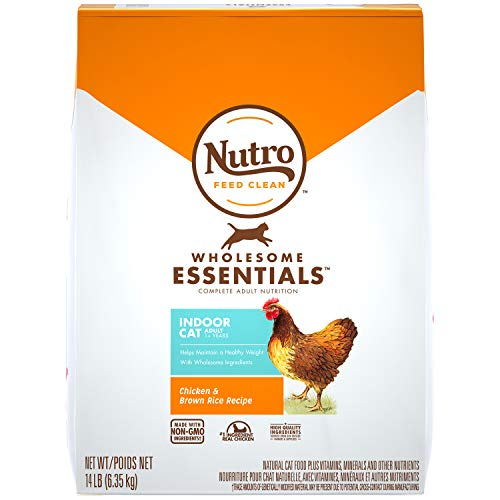 NUTRO WHOLESOME ESSENTIALS Natural Dry Cat Food, Indoor Cat Adult Chicken & Brown Rice Recipe, 14 lb. Bag
