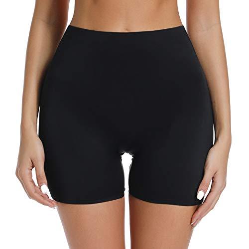 Slip Shorts for Under Dresses Women Seamless Boyshorts Panties Anti Chafing Underwear Shorts (Black, M)