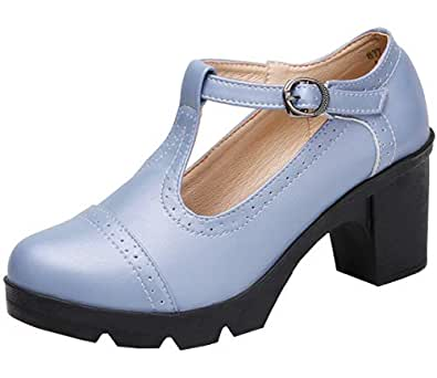 DADAWEN Women's Leather Classic T-Strap Platform Chunky Mid-Heel Square Toe Oxfords Dress Pump Shoes Light Grey US Size 4.5