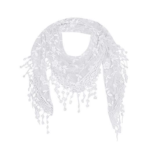 Blackobe Lace Tassel Sheer Floral Print Triangle Mantilla Scarf Shawl