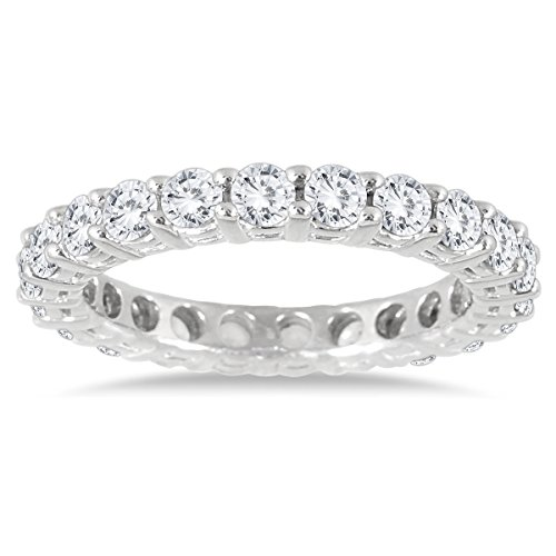 Diamond Anniversary Ring (2 Carat TW AGS Certified 14K White Gold Diamond Eternity Band (K-L Color, I2-I3 Clarity))