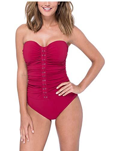 Detail Bandeau - Profile by Gottex Women's Center Detail Bandeau One Piece Swimsuit, Moto Ruby, 8