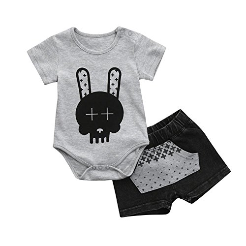(FEITONG Infant Baby Boy Cartoon Rabbit Tops + Denim Pocket Pants Shorts Outfits Clothes)
