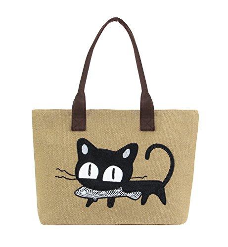Bag Tote Cat with Satchel Tom Large Girl Shoulder Khaki Women Clovers Beach Purse Handbag Canvas Animal Zipper Utility Top Handle TqwtIt