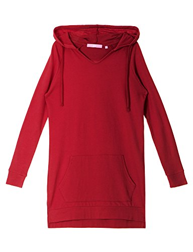 Regna X Love Coated Womens Long Sleeve Raglan Crewneck Hoodie Dress Red S by Regna X (Image #5)