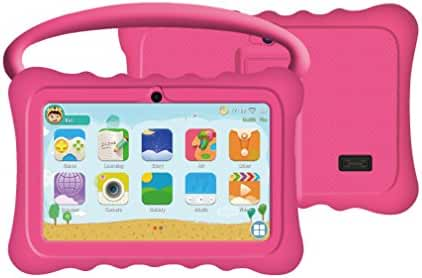 Auto Beyond 7inch Kids Tablet PC with Handle Silicone Case-Quad Core 1.2GHz,8GB ROM,Wi-Fi,Bluetooth,Dual Camera,Touchscreen,1024x600 Resolution,Google Android 4.4-(Pink)