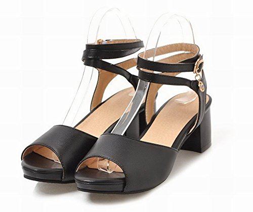 Pu Sandals Black Kitten VogueZone009 Buckle Heels Toe Open Solid Women zq8xSX4