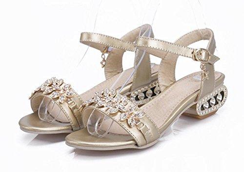 Charm Foot Mujeres Fashion Rhinestone Low Heel Open Sandalia De Punta Dorada