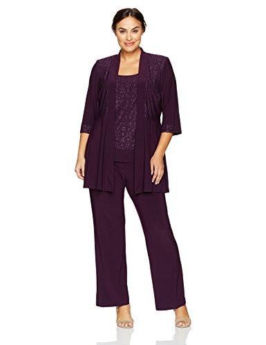 R&M Richards Women's Plus Size Two Piece Glitter and Lace Pant Set Large,  Plum 14W