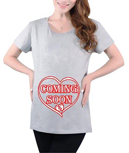 AmanGaGa Magliette Donna Premaman Taglie Forti Estive Maternity Funny Pregnancy Magliette di maternit