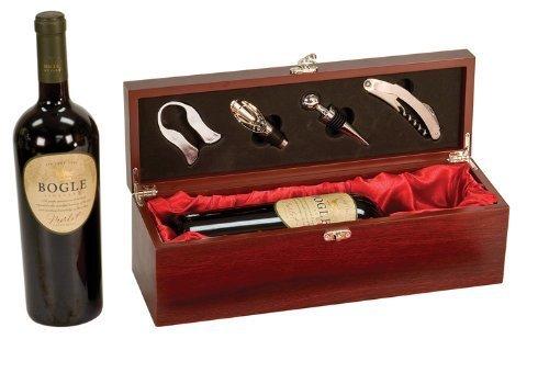 Rosewood Finish Single Wine Box with Tools