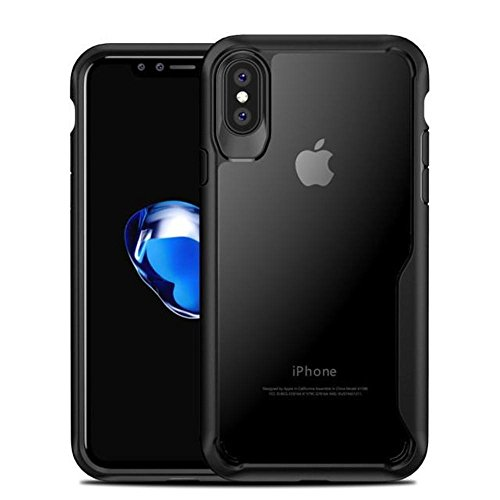Price comparison product image Phone Cases For iPhone X Fitted Cases Ultra thin Transparent Soft TPU & PC Silicone Cover Luxury Airbag Shockproof Armor Case (Black / For iphone X)