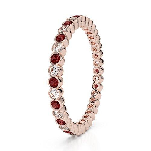 Or Rose 18carats 0,20CT G-H/VS sertie de diamants ronds Cut Grenat et éternité Bague Agdr-1098