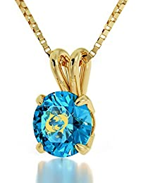 """14k Yellow Gold Zodiac Pendant Pisces Necklace 24k Gold inscribed on Crystal, 18"""" Gold Filled Chain- NanoStyle Jewelry"""