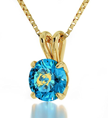 "14k Yellow Gold Zodiac Pendant Pisces Necklace 24k Gold inscribed on Blue Crystal, 18"" Gold Filled Chain"