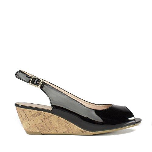 Patent Plus Ladies Sandals Wedge Sling Black Black Alaska Comfort Back d7txq7