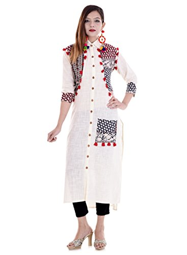 Vihaan Impex Kurtis for Women Kurtas for Women Indian White Color Kurti for Women by Vihaan Impex