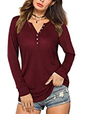 KILIG Women's Long/Short Sleeve V-Neck Button Blouse Loose Casual Tunic Tops Ladies Henley T Shirts