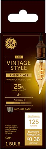 GE Lighting 36494 Amber Glass Light Bulb Dimmable LED Vintage Style Decorative 3 (25-Watt Replacement), 125-Lumen Medium Base Bent Tip, 1-Pack, Warm Candle
