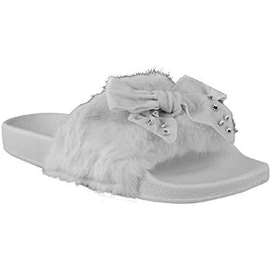 Fashion Thirsty Womens Flat Bow Slider Flat Faux Fur Diamante Sliders Size 6 (US), 5.5 (AU)