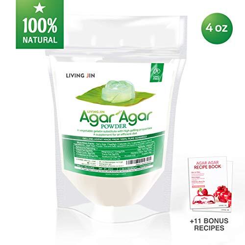Agar Agar Powder 4oz : Gelatin Substitute, Vegan, Unflavored, Gummy bears, Cheese, Vegetarian, Keto, Gluten-free, Non-GMO, Sugar-free Kosher, Halal, Desserts, Thickener |LIVING JIN