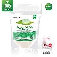 Agar Agar Powder 4oz : Gelatin Substitute, Vegan, Unflavored, Gummy bears, Cheese, Vegetarian, Gluten-free, Non-GMO, Sugar-free Kosher, Halal, Desserts, Thickener  LIVING JIN