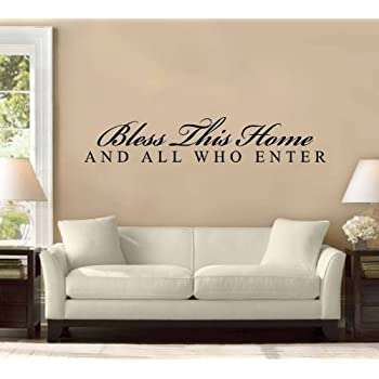 Amazon.com: BLESS THIS HOME AND ALL WHO ENTER Vinyl wall lettering ...