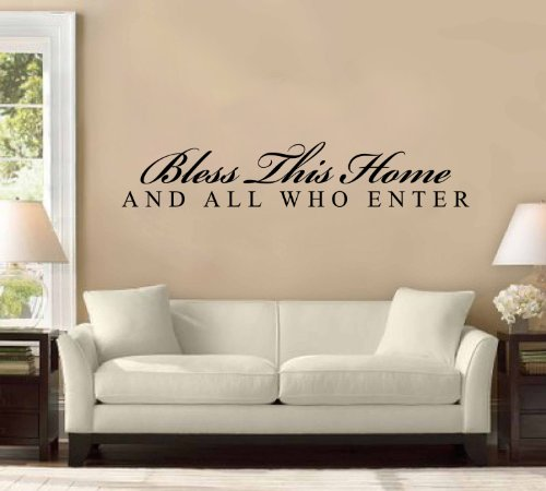 48'' Bless This House and All Who Enter Large Wall Decal Sticker Home Decoration Decor by WallPressions