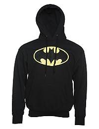 Mens Black Distressed Batman Logo Hoodie