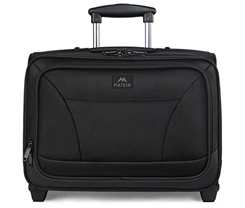 Rolling Laptop Bag, MATEIN Overnight Wheeled Briefcase for Business Travel,Fits 17 inch Notebook,Carry-on Luggage Attache Case Waterproof Rolling Work Bag for Men and Women,Black