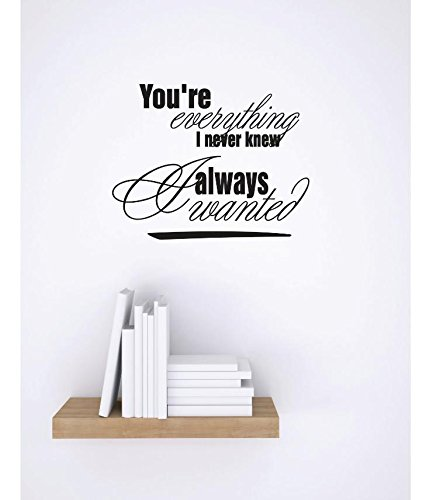 12 x 18 Black Design with Vinyl RE 1 C 2347 Youre Everything I Never Knew I Always Wanted Love Quote Vinyl Wall Decal Sticker