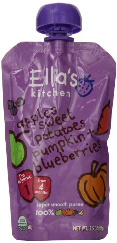 Ella's Kitchen Organic Baby Food, the sweet potato, blueberry one (4 Plus Months), 3.5 Ounce Pouches (Pack of 7)