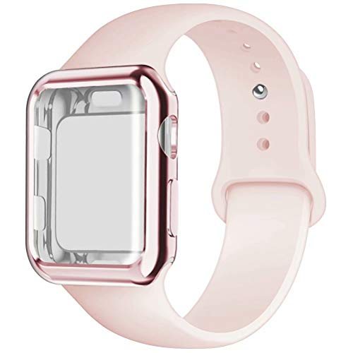 YC YANCH Compatible for Apple Watch Band with Screen Protector Case 42mm, Silicone Sport Strap Replacement Wristband with Apple Watch Case Compatible with iWatch Series 1/2/3,S/M Pink Sand