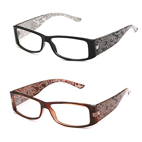 Newbee Fashion- IG High Fashion Stylish Floral Design Women Rectangular Plastic Frames Clear Lens Eye Glasses Flat Top ()