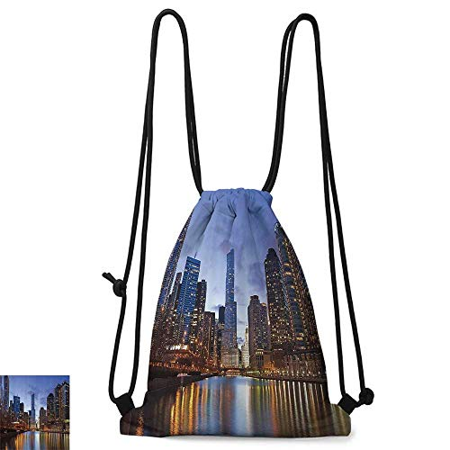 Portable backpack Contemporary Urban Cityscapes Americana Decor Collection Chicago Riverside Bridge Scene Modern USA Boho City Prints W14