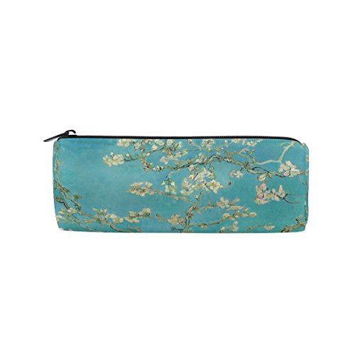 AHOMY Van Gogh Branches Of Almond Tree In Blossom Round Pencil Case Stationery Bag Zipper Pouch Pencil (Blossom Everyday Tote)
