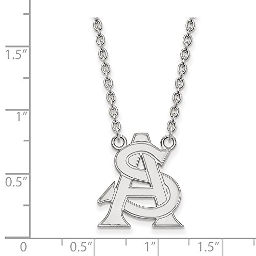 10k White Gold Arizona State Sun Devils School Letters Logo Pendant Necklace L - (19 mm x 16 mm) ()
