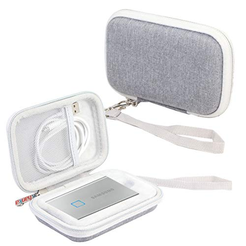 Khanka Hard Travel Case Replacement for Samsung T7 Touch Portable SSD - 500GB 1TB - USB 3.2 (Silver)