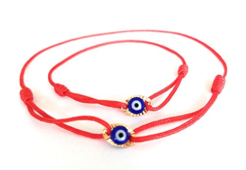 Lucky Charms USA Mommy and Me Set of 2 -Red String Sliding Knot Oval Enamel Evil Eye Bracelet for Protection, Mal De Ojo